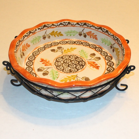 Temptations Other - Temptations Fall Thanksgiving Pie Plate with Rack